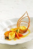 Scented geranium parfait with marinated oranges and wafers