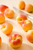 Fresh apricots on a wooden board