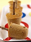 Liquorice ice cream on sticks
