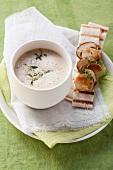 Foamy potato soup with king trumpet mushrooms
