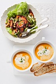 Carrot soup with gorgonzola cream and carrot salad with asparagus