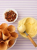 Butter tart ice cream with pecan nuts