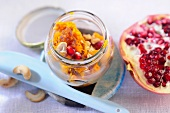 Pumpkin chutney with cashew nuts and pomegranate seeds