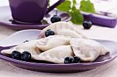 Sweet ravioli with blueberries (Polish desert)