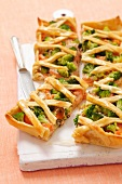 Broccoli tart with smoked salmon and sour cream