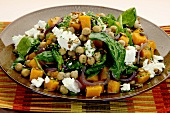 Chickpea salad with butternut squash and cottage cheese