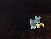 Tequila slammers with salt and lemon
