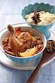 Oriental roast chicken with braised vegetables and walnuts