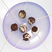 Cake pops with chocolate icing, one with a bite taken out
