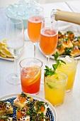 Various cocktails and canapés