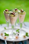 Creamed anchovy potato glasses