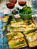 Leek tart with pine nuts