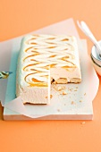 Marbled semifreddo with orange and peach