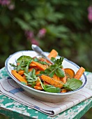 Carrot salad with poppy seeds and herbs