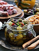 Olives and capers as antipasti