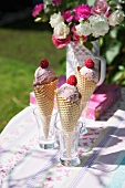 Ice cream cones with raspberry and yogurt ice cream