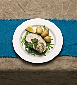 Poached cod with potatoes and horseradish