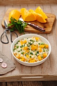 Risotto with pumpkin, peas and parsley