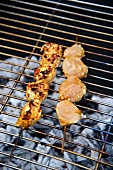 Marinated chicken kebabs on the grill