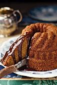Bundt cake with butterscotch sauce