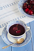 Cherry soup with red wine