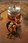 Truffle pralines and liqueur with coffee beans