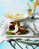 Cold roast chicken with salsa verde
