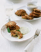 Courgette cakes with mint yogurt