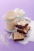 Chocolate-marshmallow squares and shortbread cookies