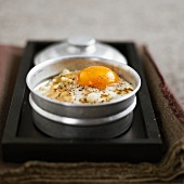 Coddled egg with celeriac and maple syrup
