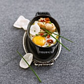 Coddled egg with scallops and sesame