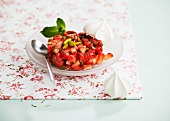 Strawberry tartare with pistachios