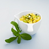 Exotic fruit tartare with mint