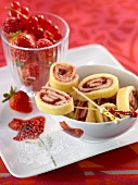 Swiss roll with strawberry jam filling