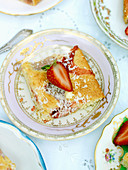 Strawberry tray bake cake