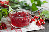 Redcurrant and rhubarb jelly