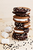 Stacked whoopie pies with chocolate and marshmallows