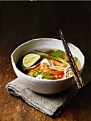 Chinese noodle soup with prawns