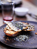 Grilled sardines with rosemary salt