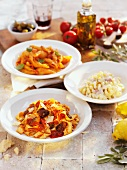 Three different pasta dishes