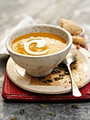 Cream of pumpkin soup with sour cream