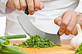 Chopping curly parsley with a mezzaluna knife