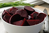 Red beets; peeled and cut into pieces