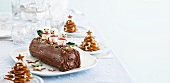 Baumkuchen (Germany layer cake) and biscuit Christmas trees for Christmas