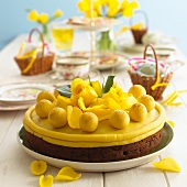 A simnel cake on an Easter table