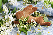 A rabbit-shaped biscuit and spiraea