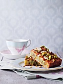 Pistachio cake with slivered almonds