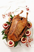 Roast goose stuffed with apples and cranberries