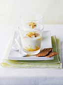 Lemon posset with slivered almonds