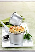 Vegetable souffle with cherry compote